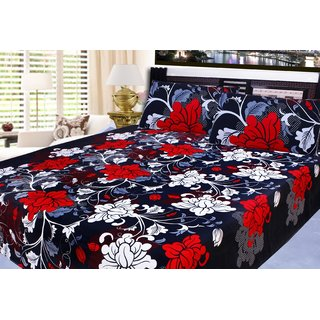 VRINDA HOME FURNISHING  POLY COTTON BEDSHEET WITH 2 PILLOW COVERS