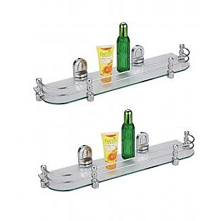 Multi Purpose Glass Shelf 18 Inch by 5.5 Inch With Heavy Wall Bracket-Pack Of 2