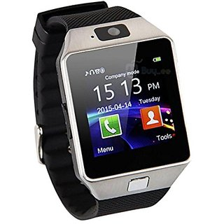 Silver Bluetooth Smart Watch Phone DZ09 With GSM SIM + Card Slot Supports Android iOS