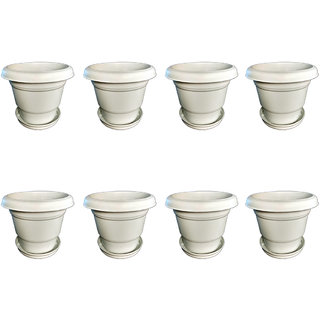 Crete Virgin Plastic Planter With Plate- Set of 8