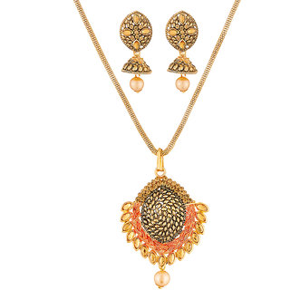 JewelMaze Brown Austrian Stone Gold Plated Pendant Set-1204001