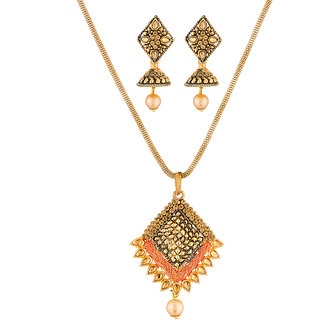 JewelMaze Gold Plated Brown Austrian Stone Pendant Set-1204002