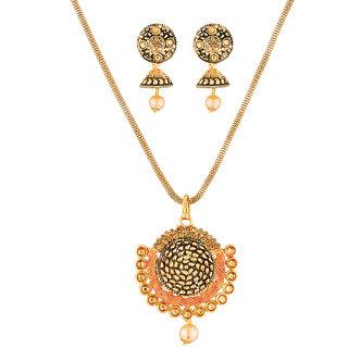 JewelMaze Brown Austrian Stone Gold Plated Pendant Set-1204003