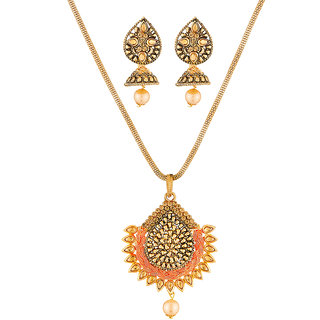 JewelMaze Gold Plated Brown Austrian Stone Pendant Set-1204004