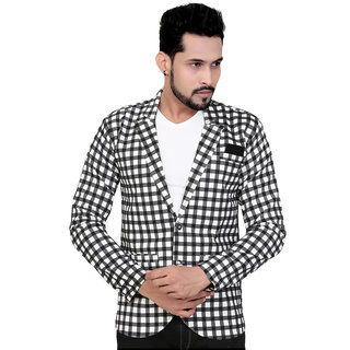 Garun Checkered Double Breasted Casual Wedding Party Festive Mens Blazer (Black and White)