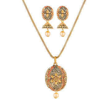 JewelMaze Gold Plated Brown Kundan Stone Pendant Set-1204006