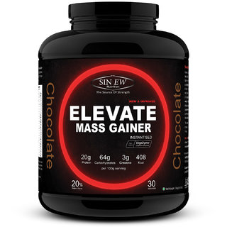 Sinew Nutrition Elevate Mass Gainer with DigiEnzymes, 3-1 Ratio (carb-protein), 3 kg Chocolate