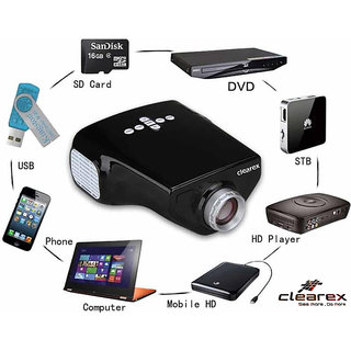 Clearex E03 Mini LED Compact Home Theater Support HDMI USB VGA AV TV TF-Card Input 50 lm LED Corded Portable Projector