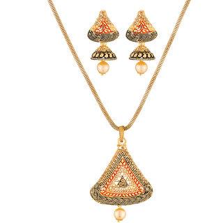 JewelMaze Gold Plated Brown Austrian Stone Pendant Set-1204010