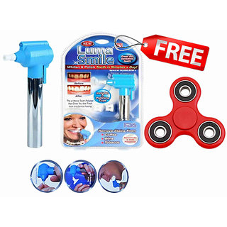 FREE STRESS TOY ORIGINAL LUMA SMILE TECHNOLOGY TOOTH WHITENER STAIN REMOVER WITH LED 2 RUBBER CUPS ORAL TOOTH AUTOMATIC