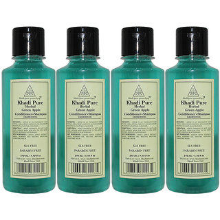 Khadi Pure Herbal Green Apple Shampoo + Conditioner - 210ml (Set of 4)