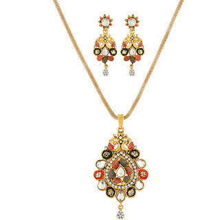 JewelMaze Gold Plated White Kundan Stone Pendant Set-1204016