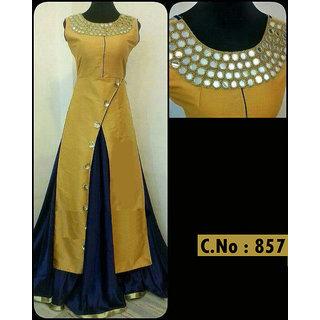 087f4ced0b23 Salwar Soul womens Designer New Party Wear Yellow nd Blue Taffeta Silk Long  Semi-Stitched