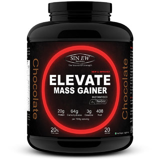 Sinew Nutrition Elevate Mass Gainer with DigiEnzymes, 3-1 Ratio (carb-protein), 2 kg Chocolate