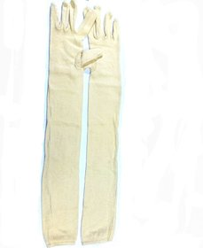 2 Pair Cotton Full Hand Gloves Sun Protection Gloves for Women Skin Colour
