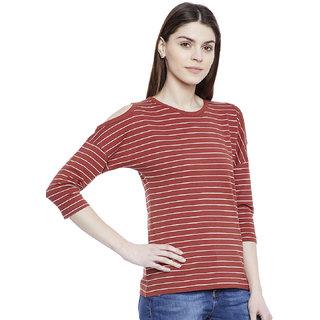 ed9a8ade1c868 Buy Hypernation Striped Women s Cold Shoulder T-shirt Online - Get ...