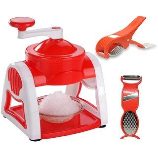 Combo of Roxa Manual Plastic Gola Maker / Slush Maker / Ice Crusher + Vegetable Cutter + 3 in 1 Peeler (Multicolor)
