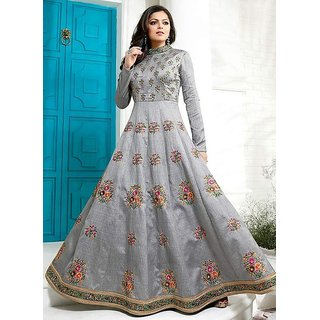 b742a6a8dc65 Buy Salwar Soul Womens Designer Gray Albela silk Long Party Wear Free Size  Semi-Stitched Anarkali Suit Online - Get 63% Off