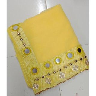 yellow designer marble chiffon saree with blouse piece