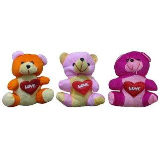 Atorakushon Pack of 3 Cute Heart Love with Teddy Bear Soft Toy Kid Children for love Valentine Birthday Gift