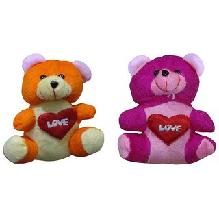 Atorakushon Pack of 2 Cute Heart Love with Teddy Bear Soft Toy Kid Children for love Valentine Birthday Gift