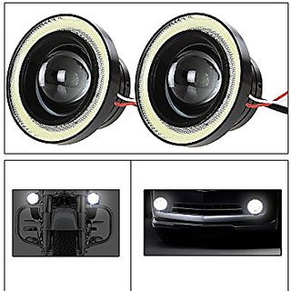 Andride 2pcs High Power 3.5 Inches Universal Car Projector LED Fog Light Lamps Fog Projector Lens Kit with White COB Halo Angel Eye Rings Daytime Running Light DRL Driving Bulbs for Cars
