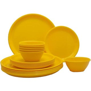 DSZONE   DINNER PLATE COLOR YELLOW SET OF 18