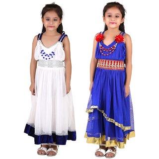 Qeboos Multicolour Net Dress Combo For Girls in Pack Of 2