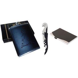 Mr. Rock Johnnie Walker Design Black Stainless Steel 7oz(210ml) Hip Flask , With Card Holder  Black Opener (Pack of 3)