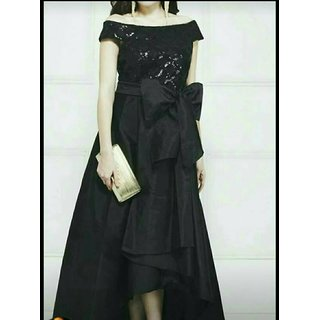 offshoulder High Low Gown in Black