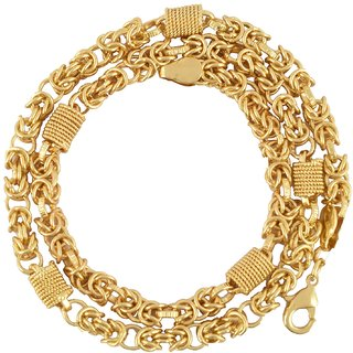 Beadworks Hand Made Gold Plated Chain for Men's(Chain-23)