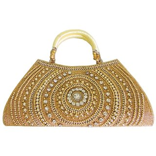 Fobhiya International Designer Embroidered Clutch Handbag/Purse For Girls and Womens in Traditional Glossy Golden