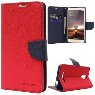 buy popular beac1 dc1b4 Luxury Mercury Diary Wallet Style FlIP Cover Case For Redmi Note 5 PRO (RED  )