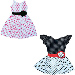 Flora's Self Design Cotton Frocks For Girls (Combi Pack of 2)