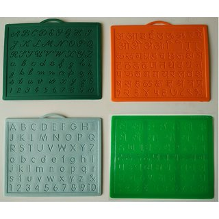 Alphabet, Number learning  Handwriting Improvement slates small-Engraved -Combo of 4 -English,Hindi Cursive  Gujarati