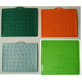 Alphabet,Number learning  Handwriting Improvement slates small-Engraved-Combo of 4 -English,Hindi Cursive Kannada