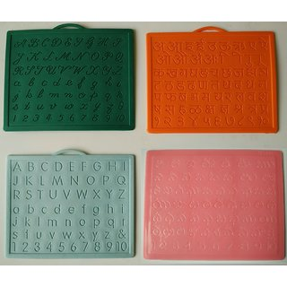 Alphabet,Number learning  Handwriting Improvement slates small-Engraved-Combo of 4 -English,Hindi Cursive Telugu