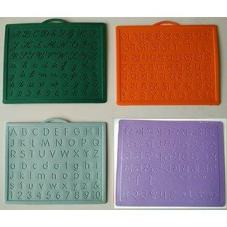 Alphabet,Number learning  Handwriting Improvement slates small-Engraved-Combo of 4 -English,Hindi Cursive Gurumukhi