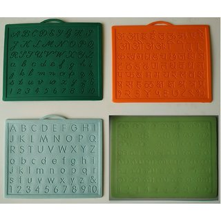 Alphabet,Number learning  Handwriting Improvement slates small-Engraved-Combo of 4 -English,Hindi Cursive Malayalam