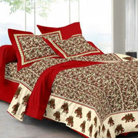 100 pure cotton pink city basket king size traditional printed jaipuri new design bedsheet with 2 zipper pillow cover