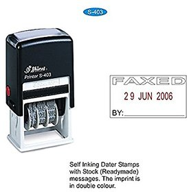 Shiny Self ink Dater Stamp With FAXED message and signature space