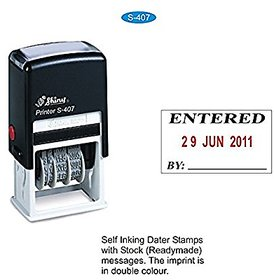 Self ink Dater Stamp With ENTERED message and signature space Shiny