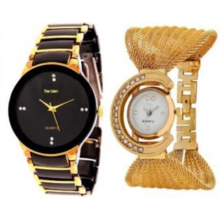 IIK Gold Balck With Zullo Gold Analog Cupple Watch For MEn And Women