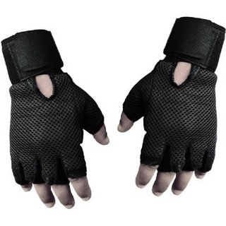Cooolhim Leather Gym Gloves With Wrist Support - Free Size