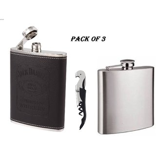 Mr.Rock Jack Daniels And Silver Stainless Steel 7oz(210ml) Hip Flask With Multi Purpose Opener  ( Pack OF 3)