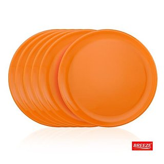 BREEZE MICROWAVE SAFE QUATER PLATES - SET OF 6 (COLOUR MAY VARY)