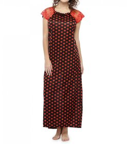 Lcnd Long Night Gown For Women with Polka Dot Print