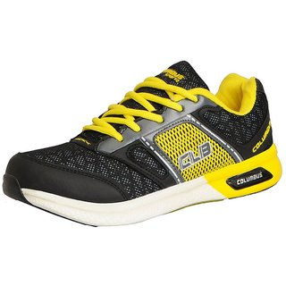 Columbus Men's ATHLETICS Black Yellow Sports  Running Shoes