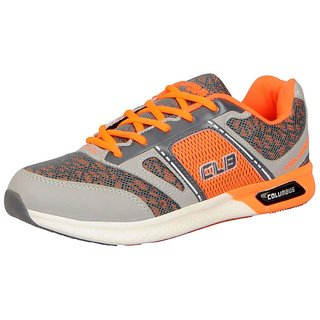 Columbus Men's ATHLETICS Grey Orange Sports  Running Shoes