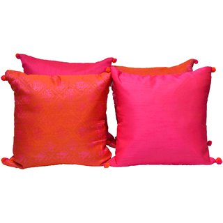 meSleep Pink Brocade and Dupioni Silk Cushion Covers-4 pc set